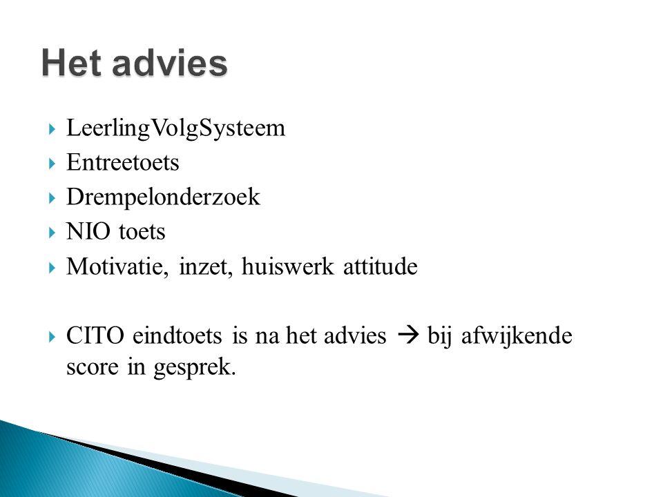  LeerlingVolgSysteem  Entreetoets  Drempelonderzoek  NIO toets  Motivatie, inzet, huiswerk attitude  CITO eindtoets is na het advies  bij afwijkende score in gesprek.