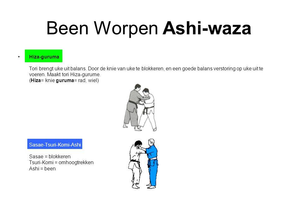Been Worpen Ashi-waza Hiza-guruma Tori brengt uke uit balans. Door de knie van uke te blokkeren, en een goede balans verstoring op uke uit te voeren.