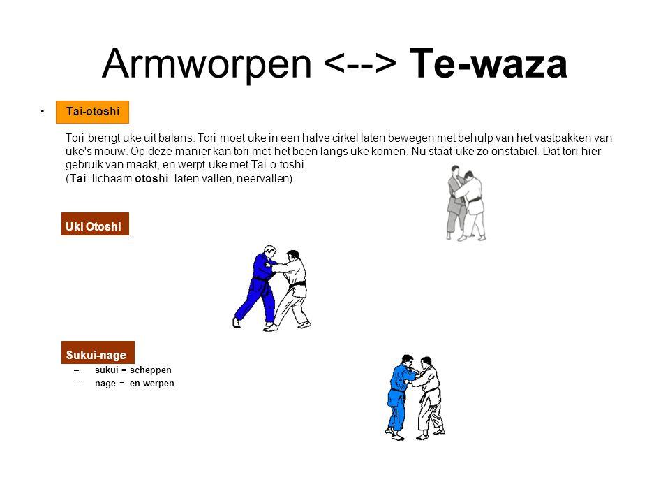 Armworpen Te-waza Tai-otoshi Tori brengt uke uit balans. Tori moet uke in een halve cirkel laten bewegen met behulp van het vastpakken van uke's mouw.