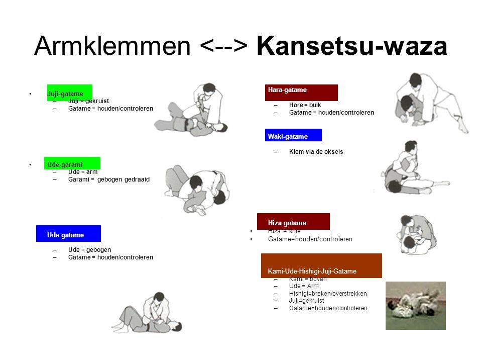 Armklemmen Kansetsu-waza Juji-gatame –Juji = gekruist –Gatame = houden/controleren Ude-garami –Ude = arm –Garami = gebogen gedraaid Ude-gatame –Ude =