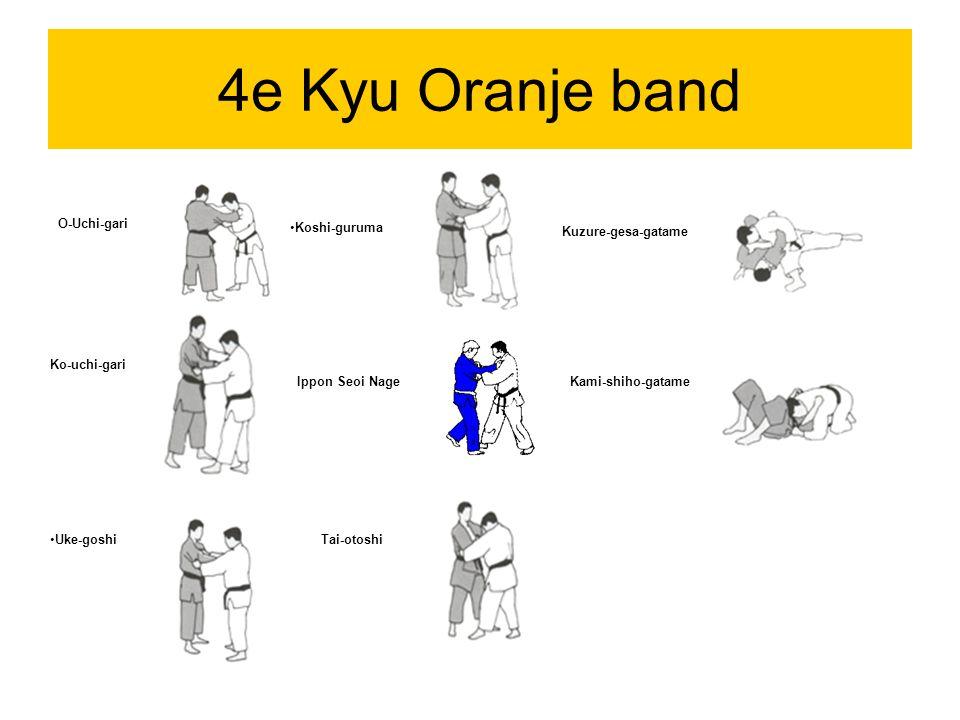 4e Kyu Oranje band O-Uchi-gari Ko-uchi-gari Uke-goshi Koshi-guruma Ippon Seoi Nage Tai-otoshi Kuzure-gesa-gatame Kami-shiho-gatame