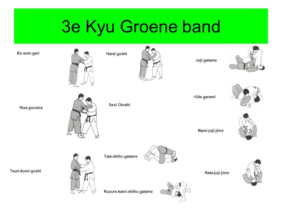 3e Kyu Groene band Ko-soto-gari Hiza-guruma Tsuri-komi-goshi Harai-goshi Seoi Otoshi Tata-shiho-gatame Kuzure-kami-shiho-gatame Juji-gatame Ude-garami Nami-juji-jime Kata-juji-jime