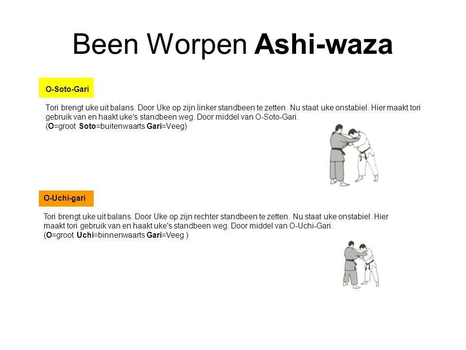 Been Worpen Ashi-waza O-Soto-Gari Tori brengt uke uit balans.