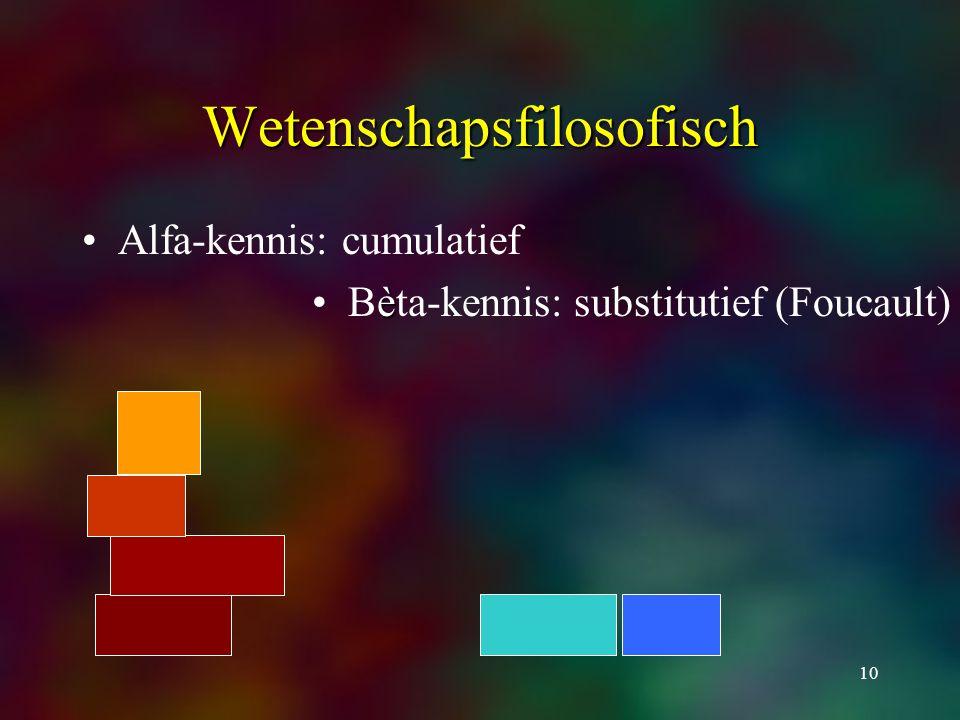 10 Wetenschapsfilosofisch Alfa-kennis: cumulatief èBèta-kennis: substitutief (Foucault)