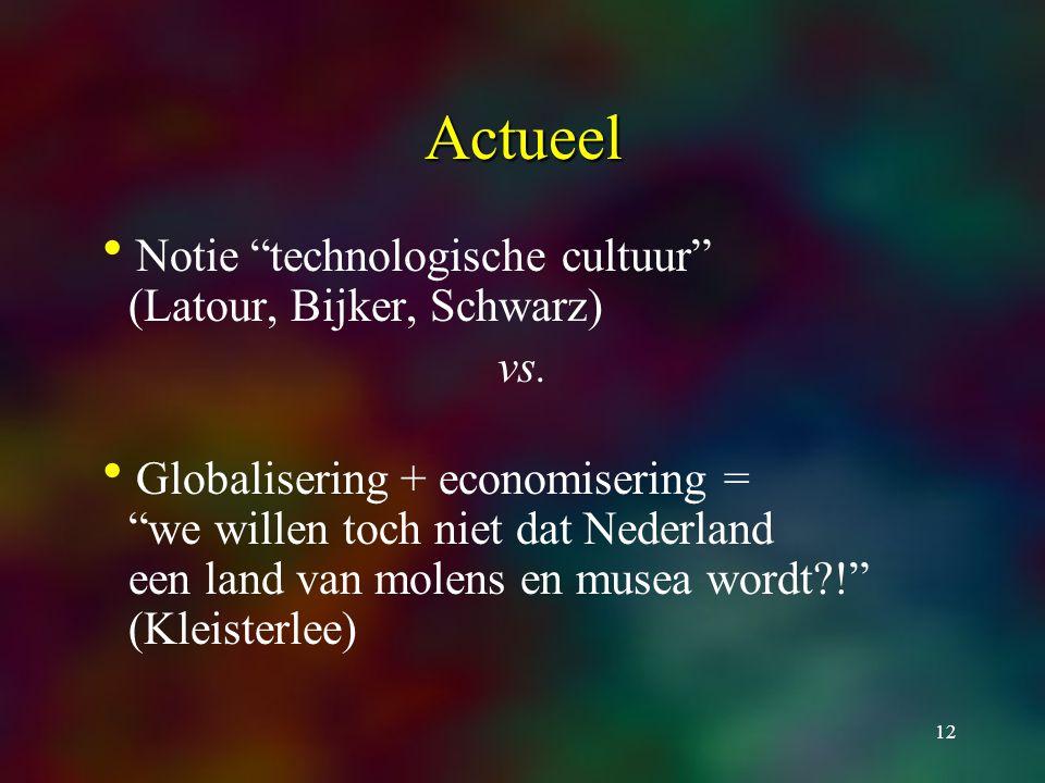12 Actueel  Notie technologische cultuur (Latour, Bijker, Schwarz) vs.
