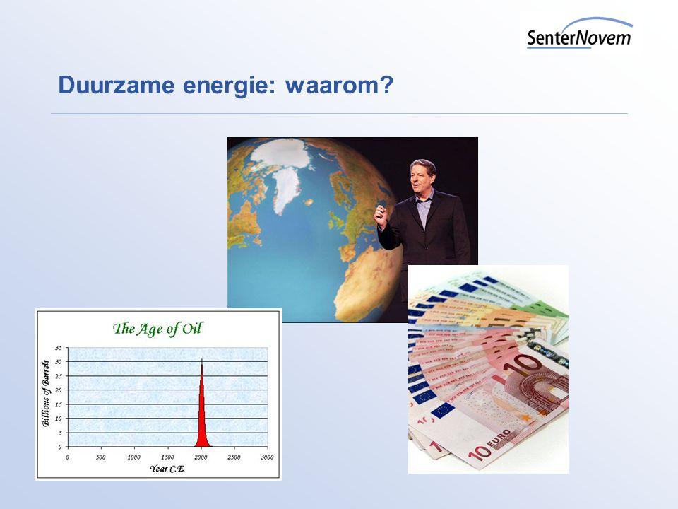 Duurzame energie in Nederland Doelstellingen (naast e-besparing van 2% pj) Reductie broeikasgassen met 30% in 2020 (streven in EU-verband) 20% aandeel DE in het binnenlands energieverbruik in 2020 (was 10%) (EU-directive > 14%) 10% bio-brandstoffen in 2020 (was 5,75% in 2010), ambitie recentelijk naar beneden bijgesteld