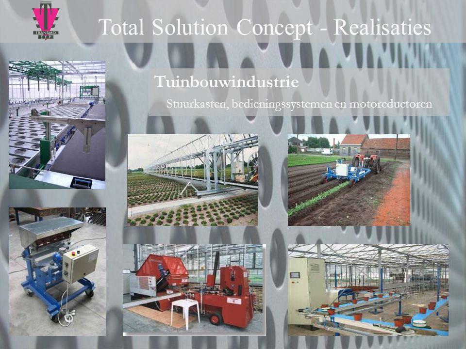 Tuinbouwindustrie Stuurkasten, bedieningssystemen en motoreductoren Total Solution Concept - Realisaties