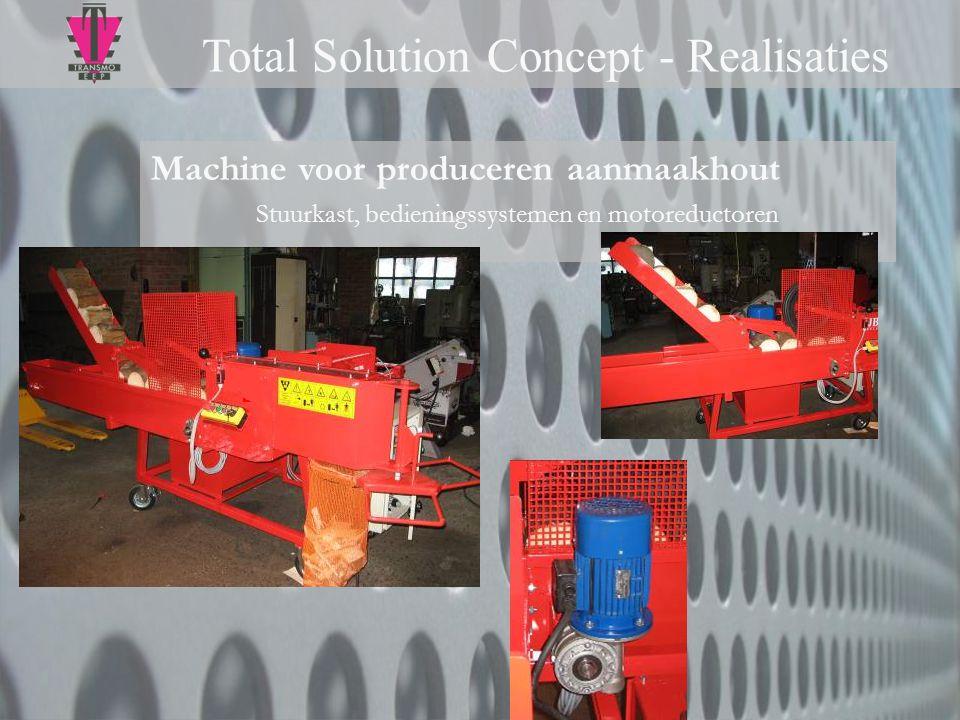 Machine voor produceren aanmaakhout Stuurkast, bedieningssystemen en motoreductoren Total Solution Concept - Realisaties