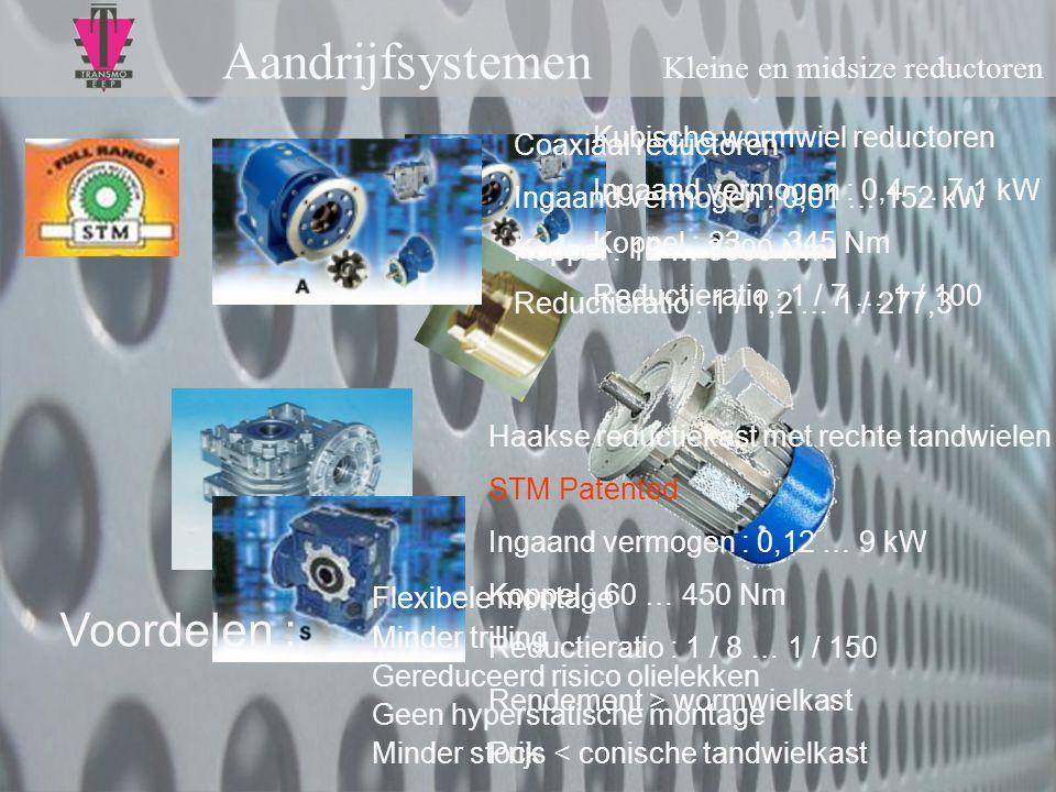 Aandrijfsystemen Kleine en midsize reductoren UMI Kubische wormwiel reductoren Ingaand vermogen : 0,4 … 7,1 kW Koppel : 23 … 345 Nm Reductieratio : 1