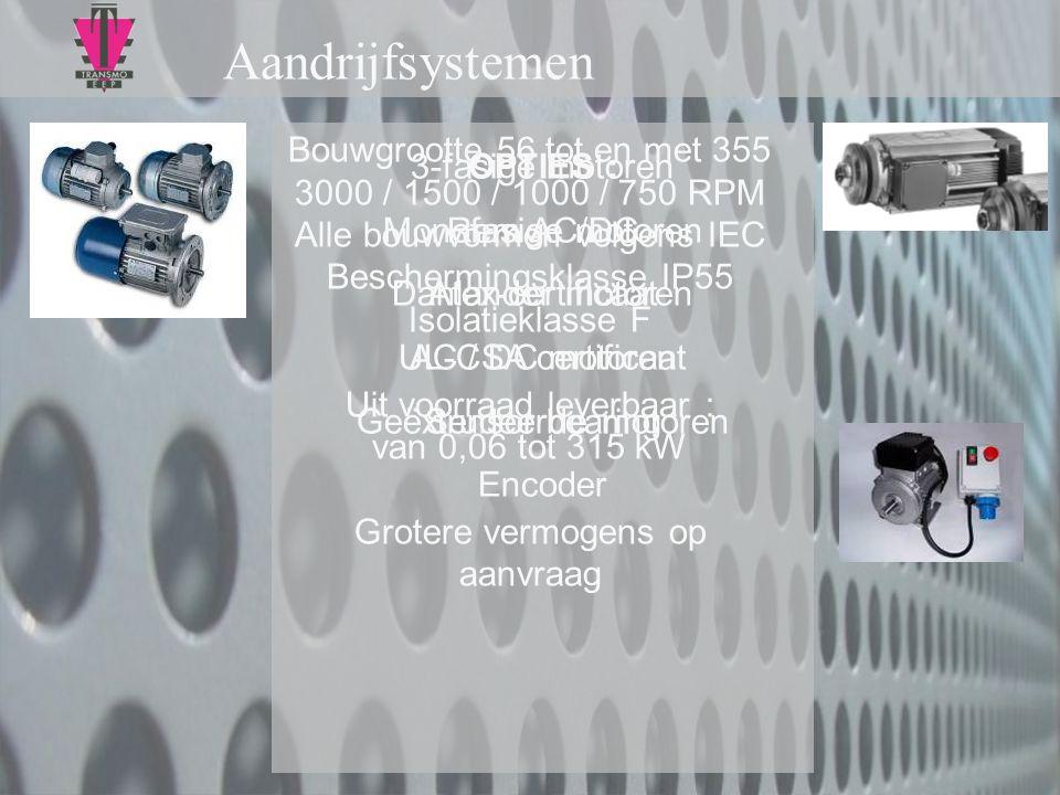 Aandrijfsystemen 3-fasige motoren Monofasige motoren Dahlander motoren AC / DC motoren Geëxtrudeerde motoren Bouwgrootte 56 tot en met 355 3000 / 1500