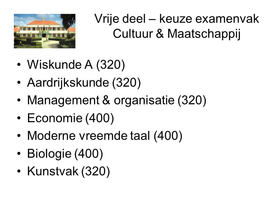 Vrije deel – keuze examenvak Cultuur & Maatschappij Wiskunde A (320) Aardrijkskunde (320) Management & organisatie (320) Economie (400) Moderne vreemde taal (400) Biologie (400) Kunstvak (320)