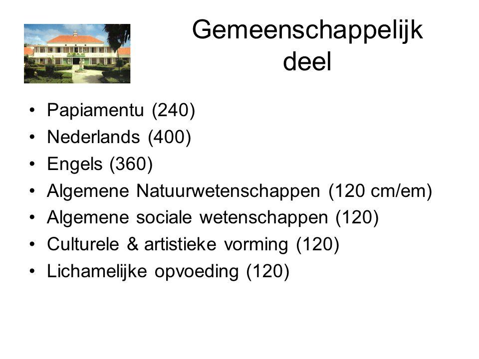 Gemeenschappelijk deel Papiamentu (240) Nederlands (400) Engels (360) Algemene Natuurwetenschappen (120 cm/em) Algemene sociale wetenschappen (120) Culturele & artistieke vorming (120) Lichamelijke opvoeding (120)