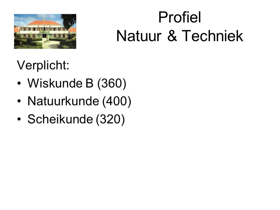 Profiel Natuur & Techniek Verplicht: Wiskunde B (360) Natuurkunde (400) Scheikunde (320)