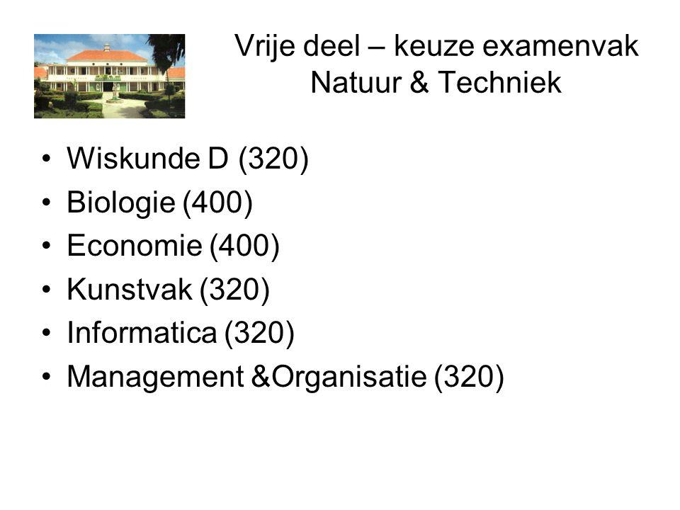 Vrije deel – keuze examenvak Natuur & Techniek Wiskunde D (320) Biologie (400) Economie (400) Kunstvak (320) Informatica (320) Management &Organisatie (320)