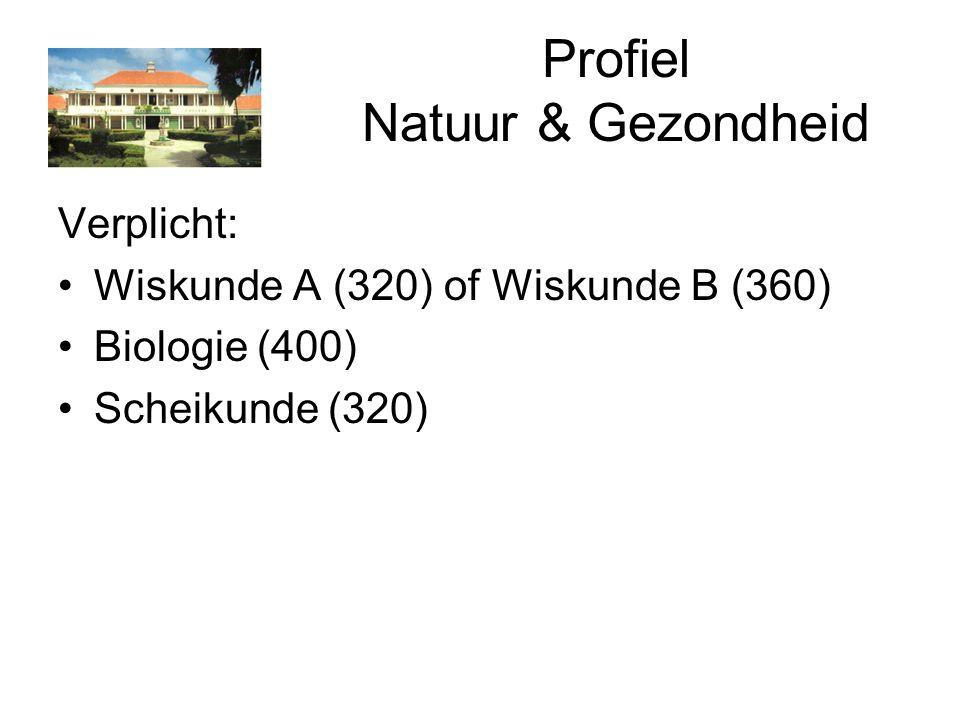 Profiel Natuur & Gezondheid Verplicht: Wiskunde A (320) of Wiskunde B (360) Biologie (400) Scheikunde (320)
