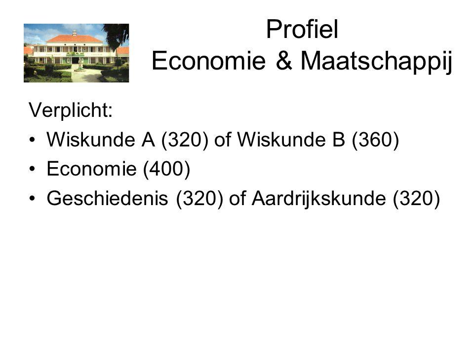 Profiel Economie & Maatschappij Verplicht: Wiskunde A (320) of Wiskunde B (360) Economie (400) Geschiedenis (320) of Aardrijkskunde (320)