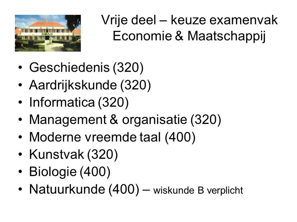Vrije deel – keuze examenvak Economie & Maatschappij Geschiedenis (320) Aardrijkskunde (320) Informatica (320) Management & organisatie (320) Moderne vreemde taal (400) Kunstvak (320) Biologie (400) Natuurkunde (400) – wiskunde B verplicht