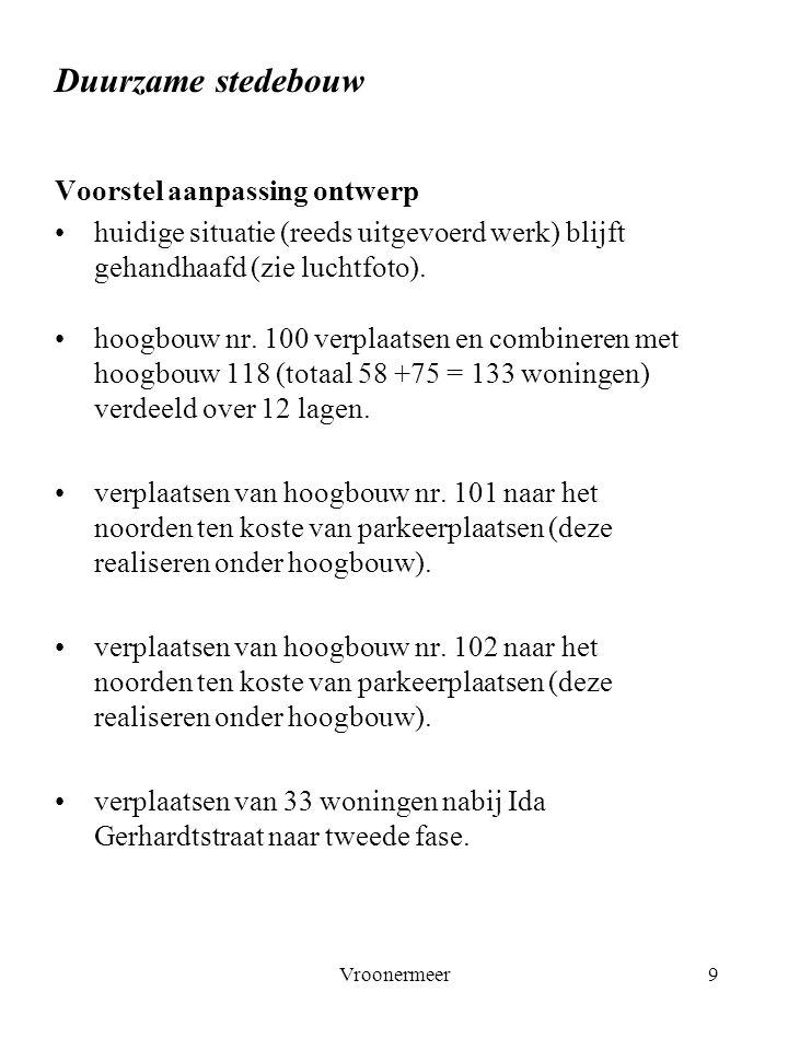 Vroonermeer9 Duurzame stedebouw Voorstel aanpassing ontwerp huidige situatie (reeds uitgevoerd werk) blijft gehandhaafd (zie luchtfoto). hoogbouw nr.