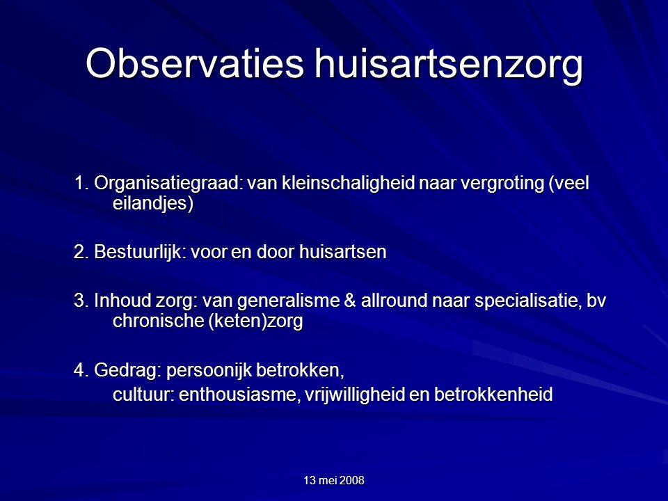 13 mei 2008 Observaties huisartsenzorg 1. Organisatiegraad: van kleinschaligheid naar vergroting (veel eilandjes) 2. Bestuurlijk: voor en door huisart