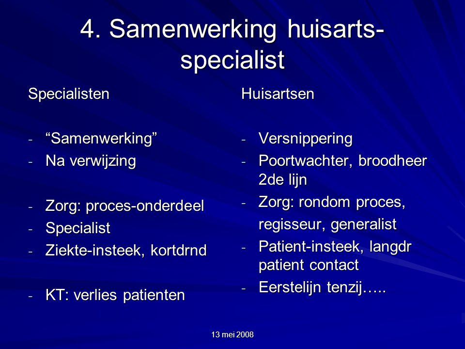 """13 mei 2008 4. Samenwerking huisarts- specialist Specialisten - """"Samenwerking"""" - Na verwijzing - Zorg: proces-onderdeel - Specialist - Ziekte-insteek,"""