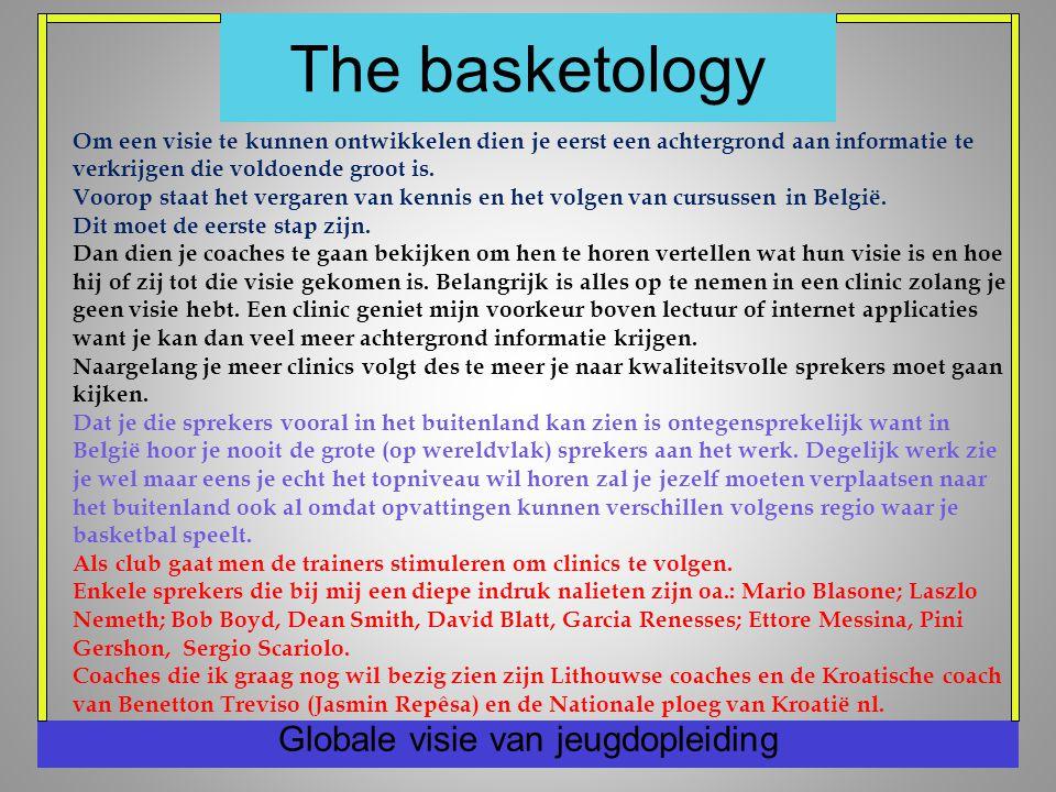 The basketology Globale visie van jeugdopleiding Om een visie te kunnen ontwikkelen dien je eerst een achtergrond aan informatie te verkrijgen die voldoende groot is.