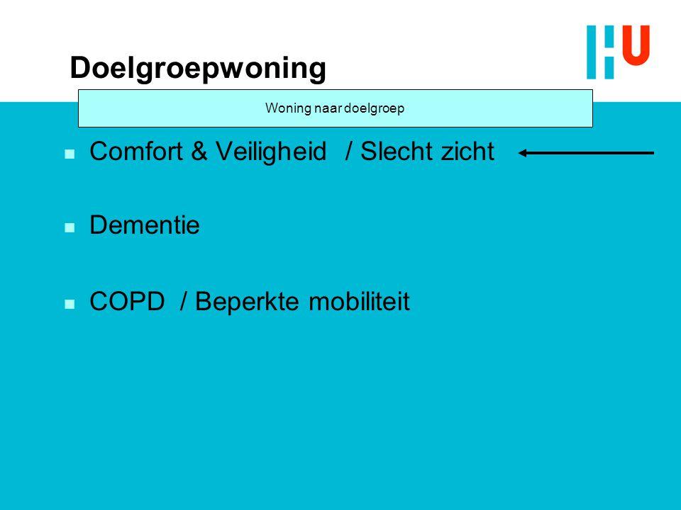 Doelgroepwoning n Comfort & Veiligheid / Slecht zicht n Dementie n COPD / Beperkte mobiliteit Woning naar doelgroep