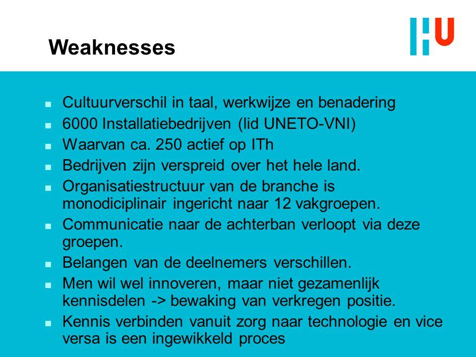 Weaknesses n Cultuurverschil in taal, werkwijze en benadering n 6000 Installatiebedrijven (lid UNETO-VNI) n Waarvan ca. 250 actief op ITh n Bedrijven