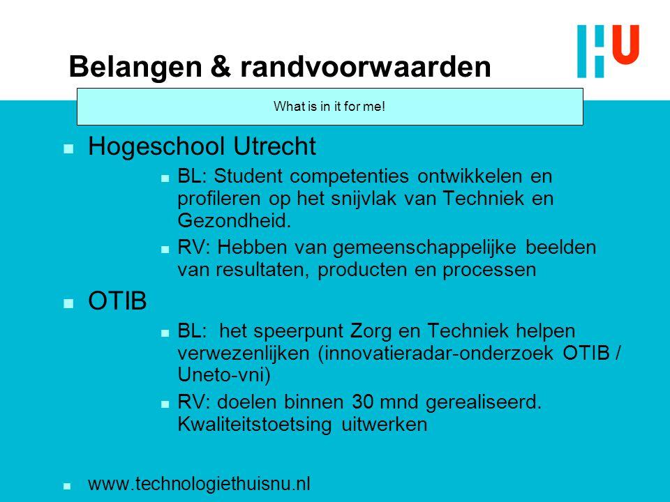 Belangen & randvoorwaarden n Hogeschool Utrecht n BL: Student competenties ontwikkelen en profileren op het snijvlak van Techniek en Gezondheid. n RV: