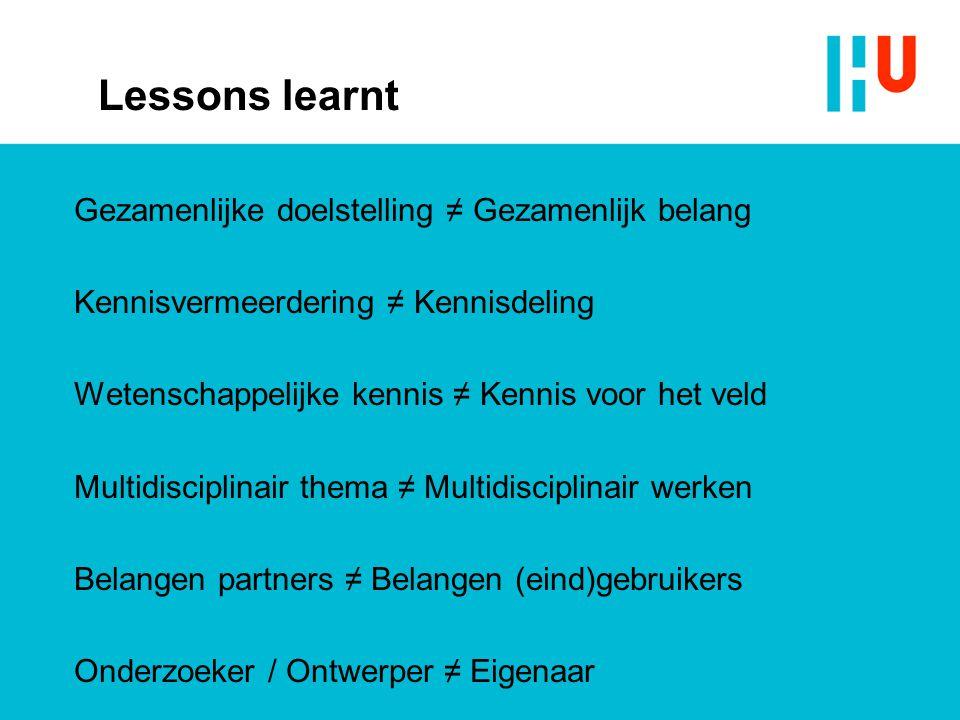 Lessons learnt Gezamenlijke doelstelling ≠ Gezamenlijk belang Kennisvermeerdering ≠ Kennisdeling Wetenschappelijke kennis ≠ Kennis voor het veld Multi