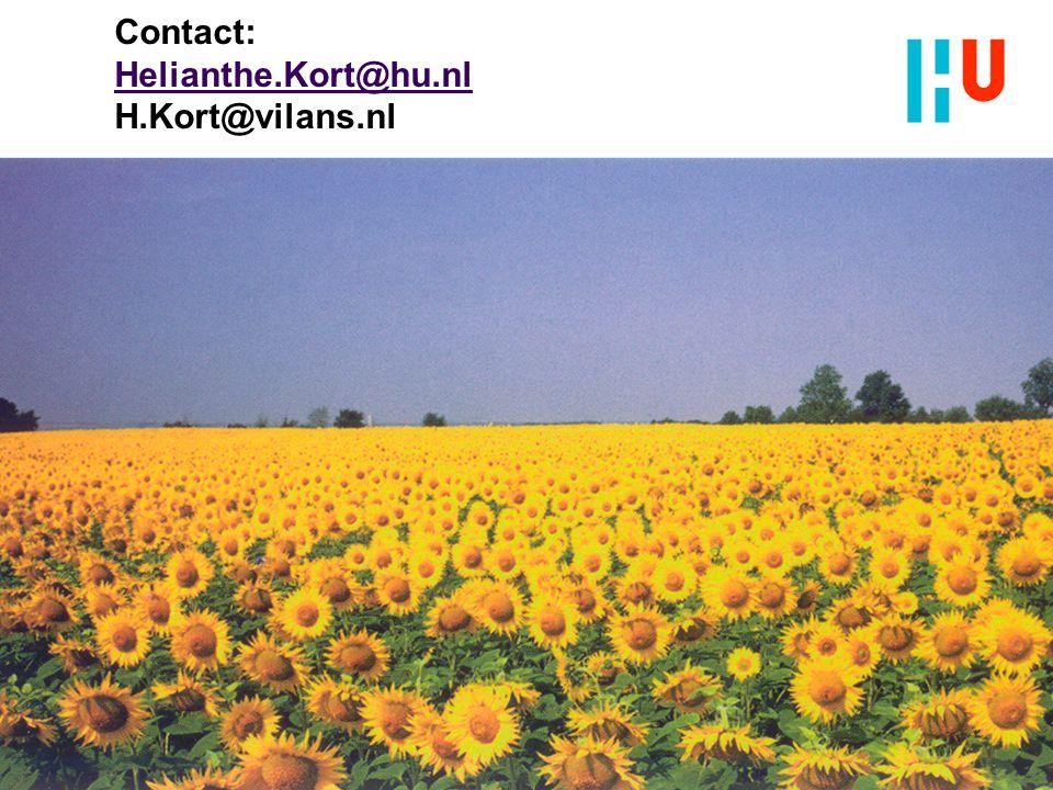 Contact: Helianthe.Kort@hu.nl H.Kort@vilans.nl Helianthe.Kort@hu.nl