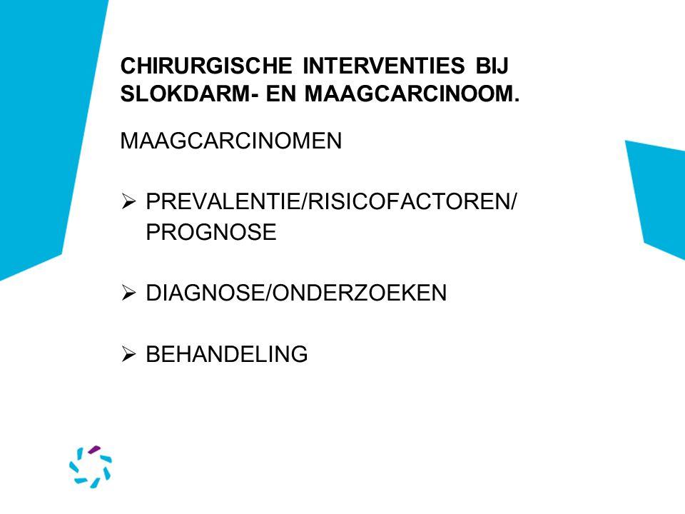 CHIRURGISCHE INTERVENTIES BIJ SLOKDARM- EN MAAGCARCINOOM. MAAGCARCINOMEN  PREVALENTIE/RISICOFACTOREN/ PROGNOSE  DIAGNOSE/ONDERZOEKEN  BEHANDELING