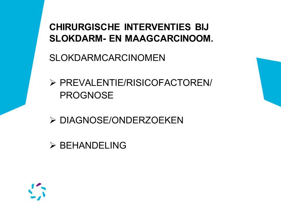 CHIRURGISCHE INTERVENTIES BIJ SLOKDARM- EN MAAGCARCINOOM INDELING :  SLOKDARMCARCINOMEN  MAAGCARCINOMEN  GE JUNCTIE- CARCINOMEN