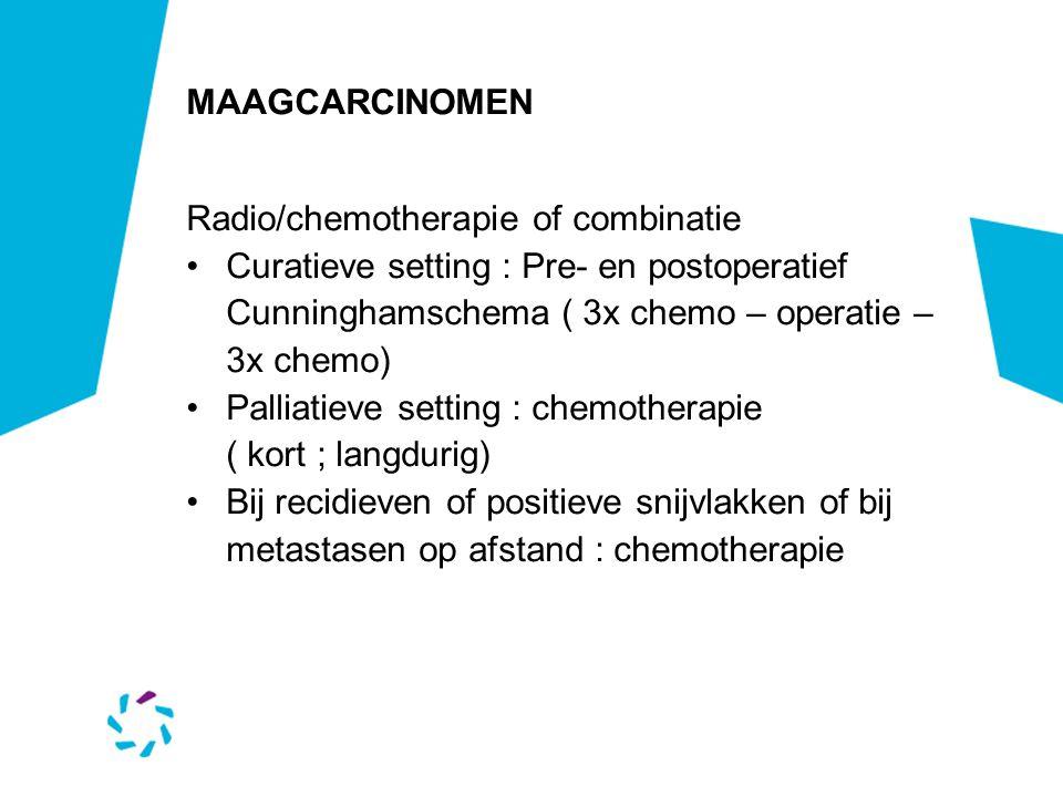 MAAGCARCINOMEN Radio/chemotherapie of combinatie Curatieve setting : Pre- en postoperatief Cunninghamschema ( 3x chemo – operatie – 3x chemo) Palliati