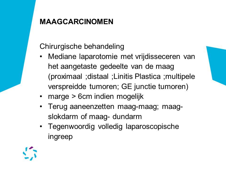 MAAGCARCINOMEN Chirurgische behandeling Mediane laparotomie met vrijdisseceren van het aangetaste gedeelte van de maag (proximaal ;distaal ;Linitis Pl