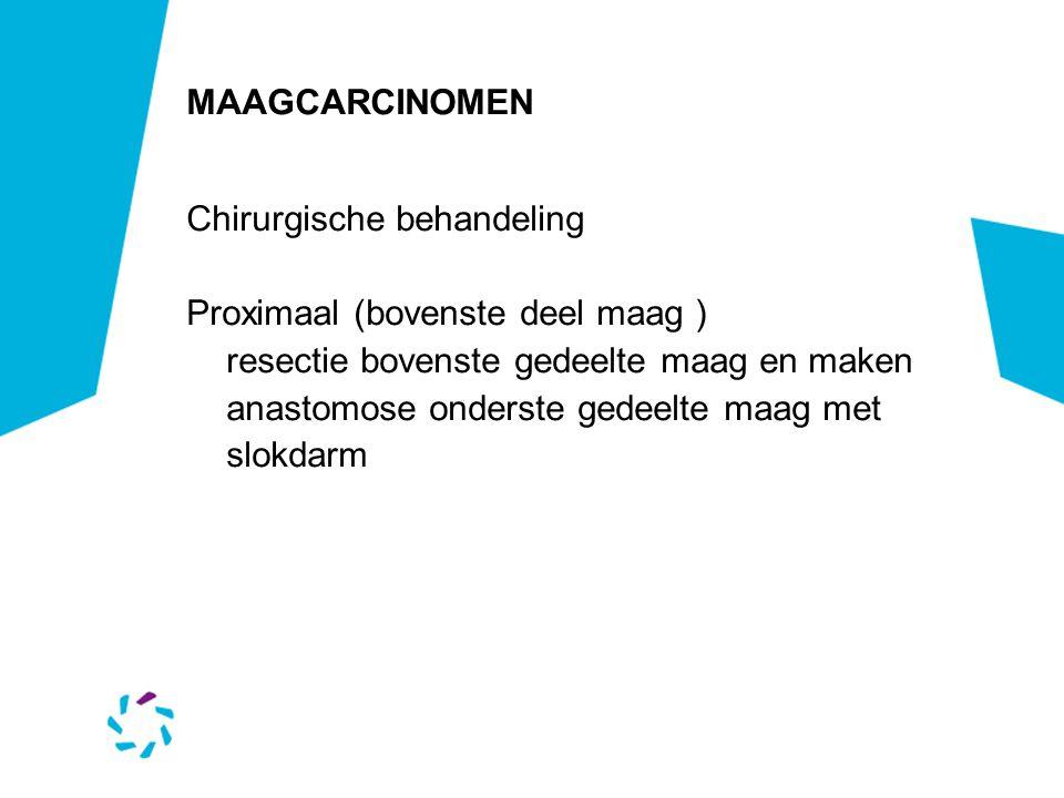 MAAGCARCINOMEN Chirurgische behandeling Proximaal (bovenste deel maag ) resectie bovenste gedeelte maag en maken anastomose onderste gedeelte maag met