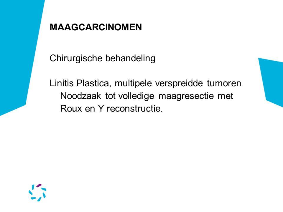 MAAGCARCINOMEN Chirurgische behandeling Linitis Plastica, multipele verspreidde tumoren Noodzaak tot volledige maagresectie met Roux en Y reconstructi