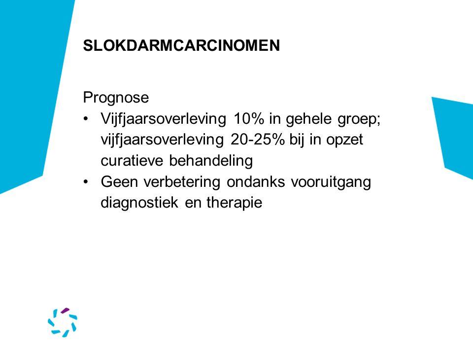 SLOKDARMCARCINOMEN Prognose Vijfjaarsoverleving 10% in gehele groep; vijfjaarsoverleving 20-25% bij in opzet curatieve behandeling Geen verbetering on