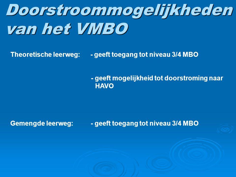 Doorstroommogelijkheden van het VMBO Theoretische leerweg: - geeft toegang tot niveau 3/4 MBO - geeft mogelijkheid tot doorstroming naar HAVO Gemengde