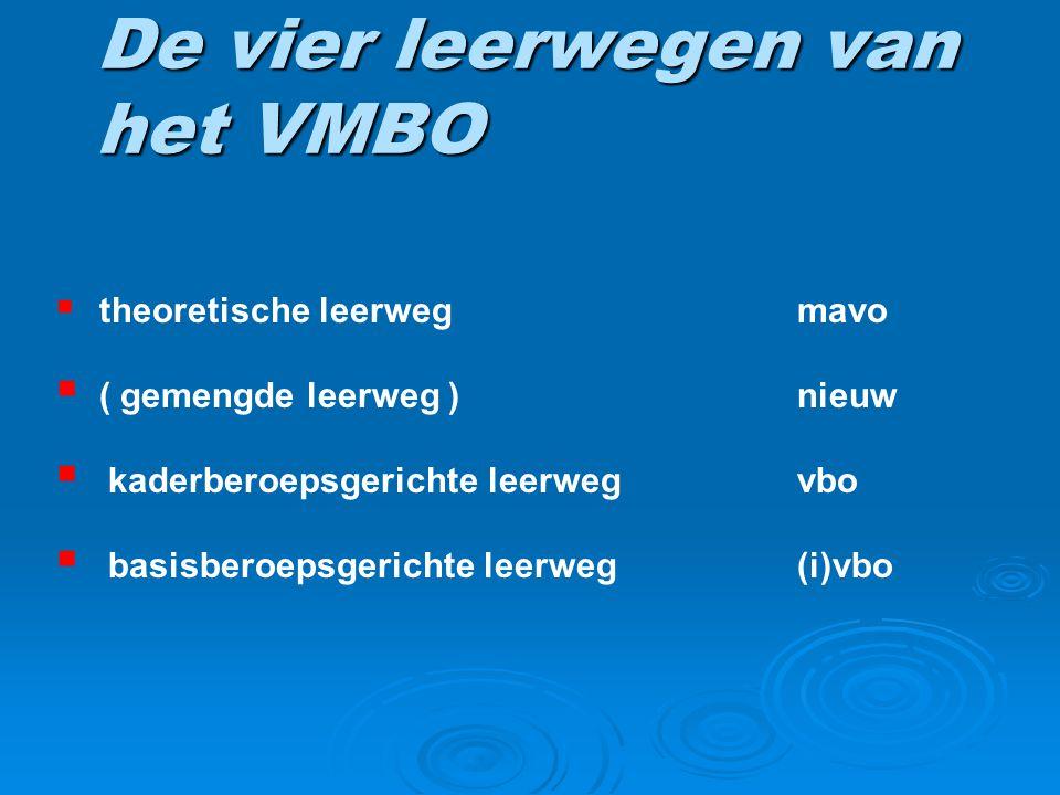 De vier leerwegen van het VMBO  theoretische leerwegmavo  ( gemengde leerweg )nieuw  kaderberoepsgerichte leerwegvbo  basisberoepsgerichte leerweg