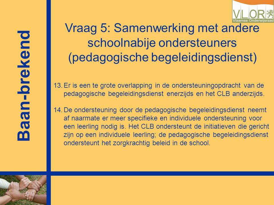Vraag 5: Samenwerking met andere schoolnabije ondersteuners (pedagogische begeleidingsdienst) 13.Er is een te grote overlapping in de ondersteuningopd