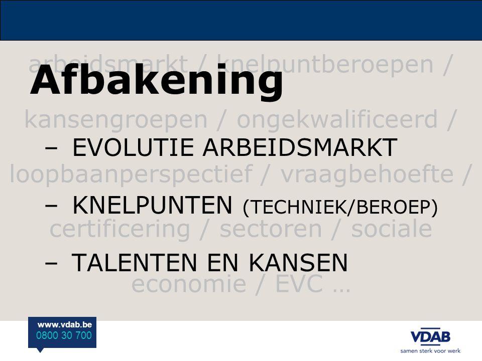 www.vdab.be 0800 30 700 arbeidsmarkt / knelpuntberoepen / kansengroepen / ongekwalificeerd / loopbaanperspectief / vraagbehoefte / certificering / sec