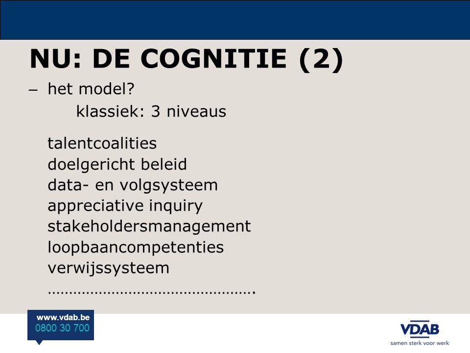 www.vdab.be 0800 30 700 NU: DE COGNITIE (2) – het model? klassiek: 3 niveaus talentcoalities doelgericht beleid data- en volgsysteem appreciative inqu