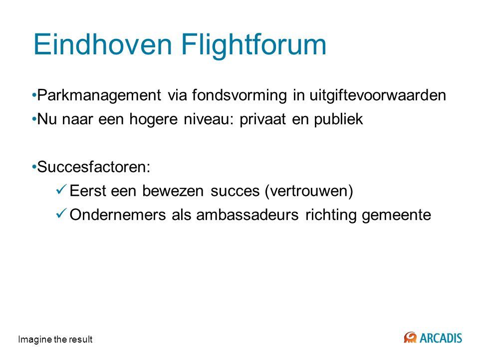Imagine the result Eindhoven Flightforum Parkmanagement via fondsvorming in uitgiftevoorwaarden Nu naar een hogere niveau: privaat en publiek Succesfa