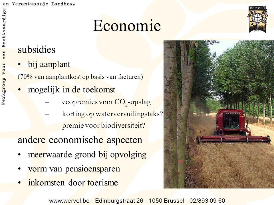 www.wervel.be - Edinburgstraat 26 - 1050 Brussel - 02/893 09 60 Economie subsidies bij aanplant (70% van aanplantkost op basis van facturen) mogelijk