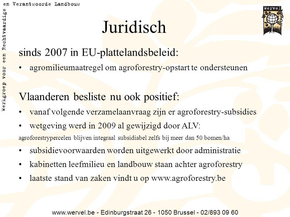 www.wervel.be - Edinburgstraat 26 - 1050 Brussel - 02/893 09 60 Juridisch sinds 2007 in EU-plattelandsbeleid: agromilieumaatregel om agroforestry-opst