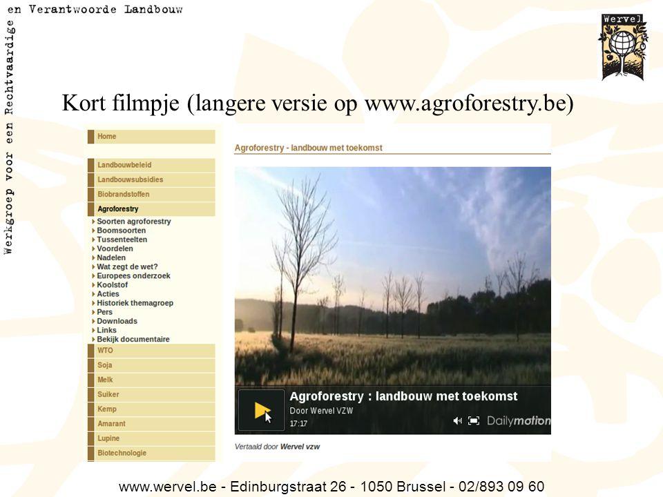 www.wervel.be - Edinburgstraat 26 - 1050 Brussel - 02/893 09 60 Kort filmpje (langere versie op www.agroforestry.be)