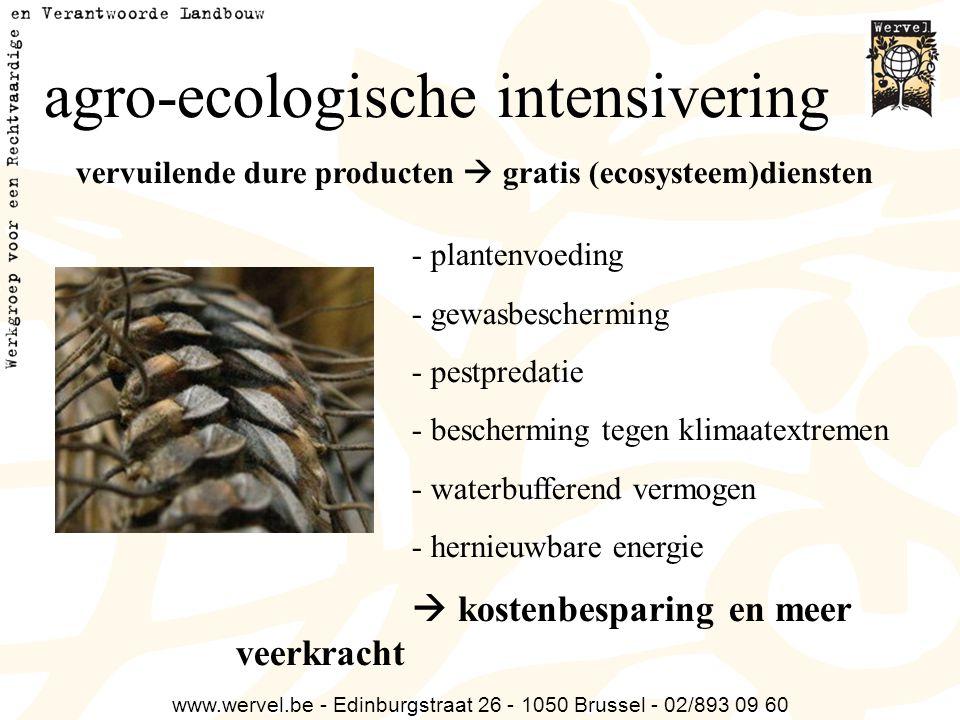 www.wervel.be - Edinburgstraat 26 - 1050 Brussel - 02/893 09 60 agro-ecologische intensivering vervuilende dure producten  gratis (ecosysteem)dienste
