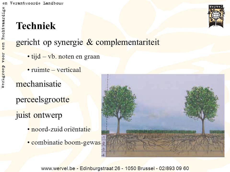 www.wervel.be - Edinburgstraat 26 - 1050 Brussel - 02/893 09 60 Techniek gericht op synergie & complementariteit tijd – vb. noten en graan ruimte – ve