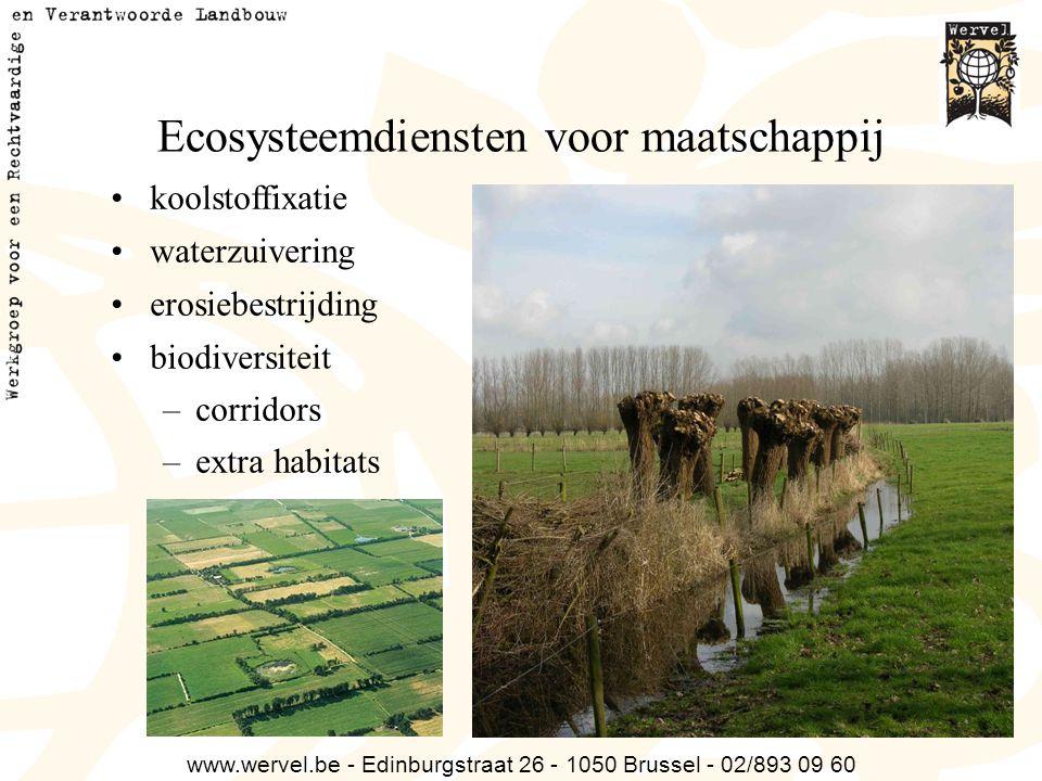 www.wervel.be - Edinburgstraat 26 - 1050 Brussel - 02/893 09 60 Ecosysteemdiensten voor maatschappij koolstoffixatie waterzuivering erosiebestrijding