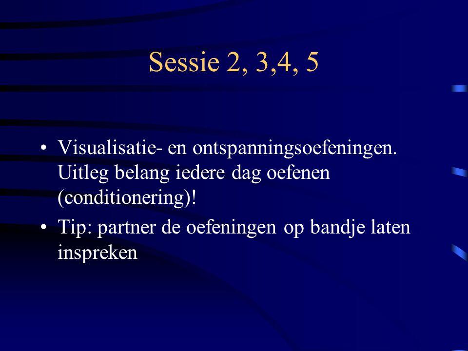Sessie 2, 3,4, 5 Visualisatie- en ontspanningsoefeningen. Uitleg belang iedere dag oefenen (conditionering)! Tip: partner de oefeningen op bandje late